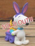 "ct-131122-80 Snoopy / Whitman's 1999 PVC ""Easter Bunny Cart (Purple ear)"""