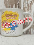 "ct-140509-18 Smurf / 80's Ceramic Mug ""Happy Birthday"""