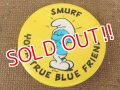 "ct-151005-10 Smurf / 80's Pinback ""You True Blue Friend"""