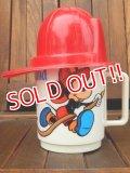 ct-170511-25 Mickey Mouse & Goofy / Disneyland 1970's Firefighter Plastic Mug