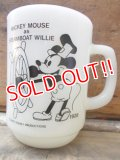 "kt-120511-01 Mickey Mouse / Anchor Hocking 80's 9oz mug ""Steam boat willy"""