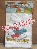 "ct-130702-27 Smurf / 80's Plush doll T-Shirt ""Super Smurf"""