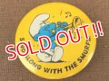 "ct-151005-13 Smurf / 80's Pinback ""Sing Along with the Smurfs!"""