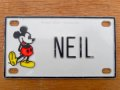 "ct-150915-30 Mickey Mouse / 70's Name Plate ""NEIL"""