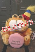 "ct-180514-36 Garfield / DAKIN 1980's Plush Doll ""Happy Birthday"""
