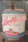 dp-180601-34 Bonded Gas & Oil / 1940's-1950's Quality 5 Gallon Oil Can