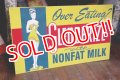 dp-181101-21 SLENDERIZE NONFAT MILK / 1950's Metal Sign