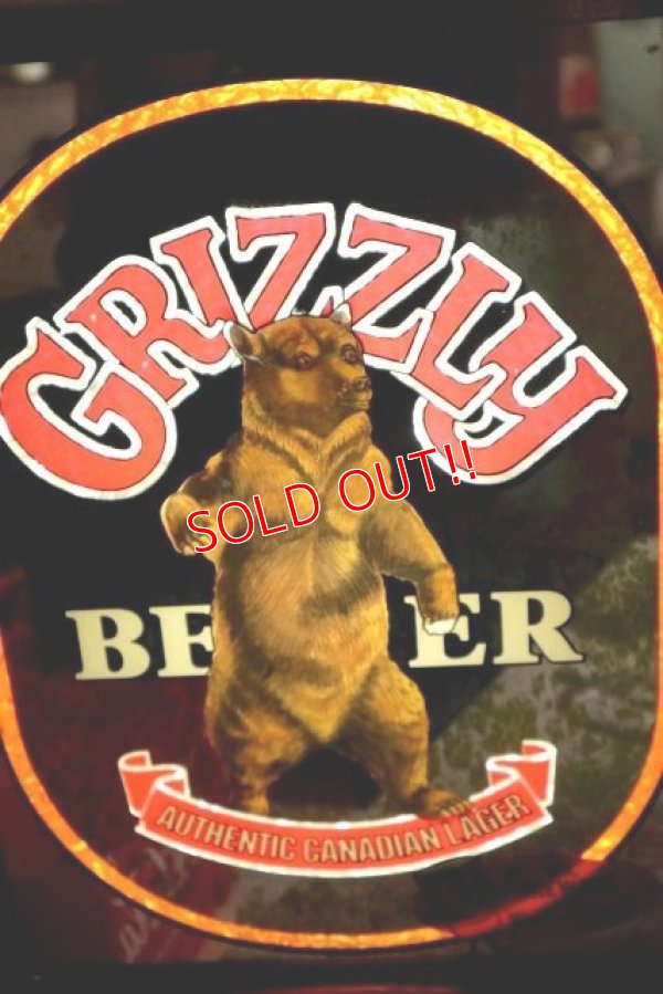画像2: dp-181203-14 GRIZZLY BEER / 1970's Pub Mirror & Lighted Sign