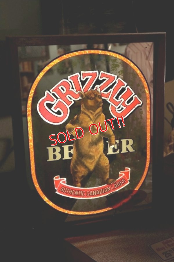 画像1: dp-181203-14 GRIZZLY BEER / 1970's Pub Mirror & Lighted Sign