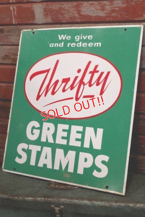画像1: dp-190201-02 Thrifty Green Stamp / 1960's W-side Metal Sign