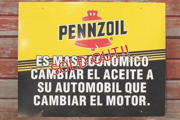 画像1: dp-191101-31 Pennzoil / 1990's W-side Plastic Sign