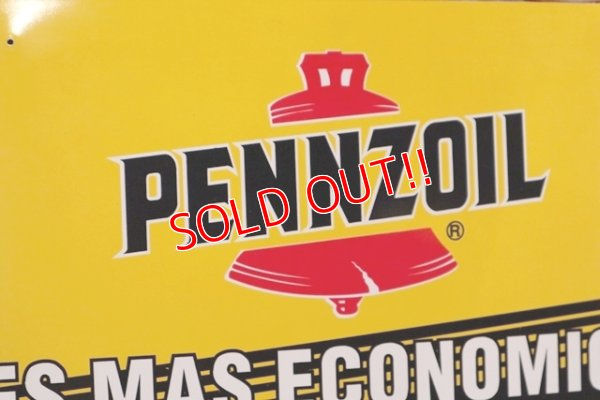 画像2: dp-191101-31 Pennzoil / 1990's W-side Plastic Sign
