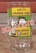 "gs-200501-12 PEANUTS / Anchor Hocking 170's Glass ""Lucy's Lemonade Stand"""