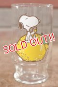 "gs-200901-02 Snoopy / Anchor Hocking 1970's mini Glass ""Lemon"""