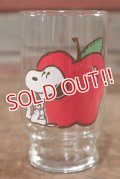 "gs-200901-01 Snoopy / Anchor Hocking 1970's mini Glass ""Apple"""