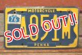 "dp-201114-37 1970's Motorcycle License Plate ""Pennsylvania"""