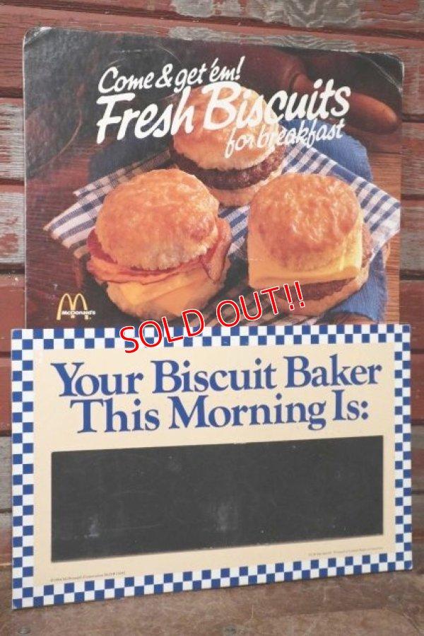 画像1: dp-201201-66 McDonald's / 1984 Fresh Biscuits for Break Fast Cardboard Sign