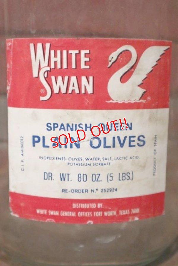 画像2: dp-201201-22 WHITE SWAN PLAIN OLIVES / Vintage Glass Bottle