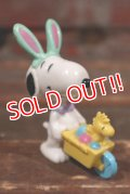 """ct-210401-54 Snoopy / Whitman's 1997 PVC """"Easter Bunny Cart (Green ear)"""""""