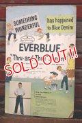 """dp-210601-01 Good Housekeeping / 1950's """"EVERBLUE"""" Denim Cardboard Sign"""
