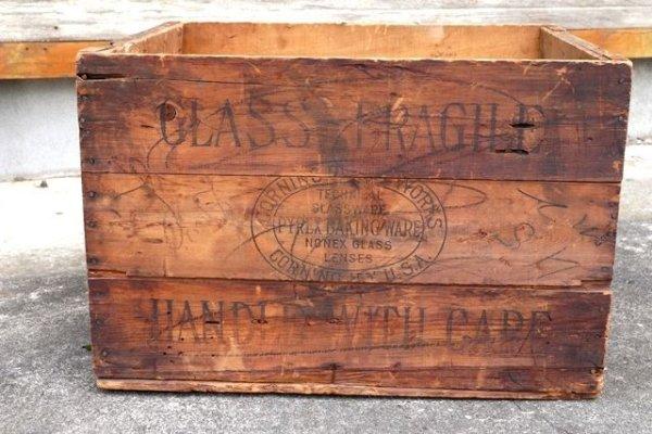 画像1: dp-210601-09 CORNING PYREX WARE / 〜1940's Wood Crate Box