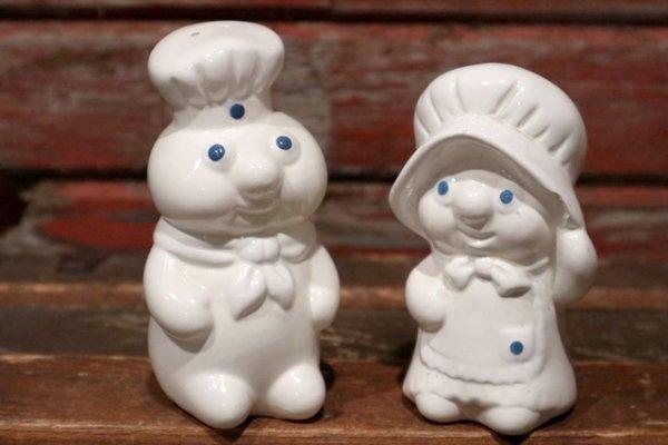 画像1: ct-150616-26 Pillsbury / Poppin Fresh & Poppie Fresh 1988 Ceramic Salt and Pepper Set